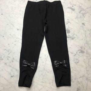 Aqua Bloomingdale's Black Bow Leggings Pants 5